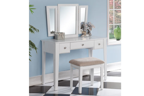 F4110 Vanity Set Stool Mirror 3-Drawer