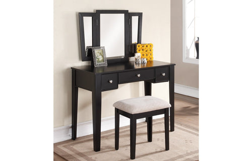 F4109 Vanity Set with Stool Mirror 3-Drawer