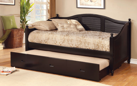 FURNITURE OF AMERICA CM1957BK BEL AIR BLACK DAYBED WITH TRUNDLE