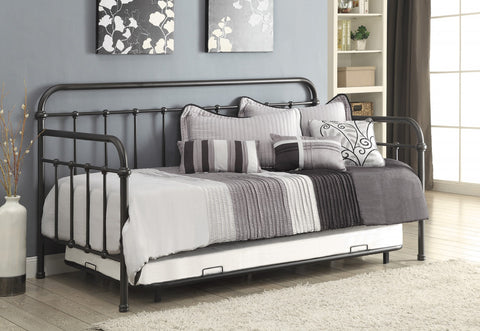 DARK BRONZE METAL DAYBED WITH TRUNDLE 300398