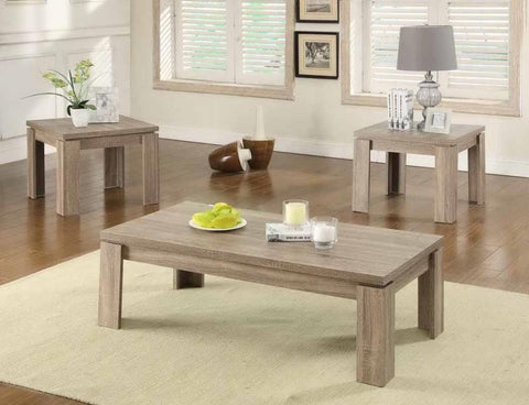 COASTER 701646 3 PC DISTRESSED BROWN COFFEE TABLE SET