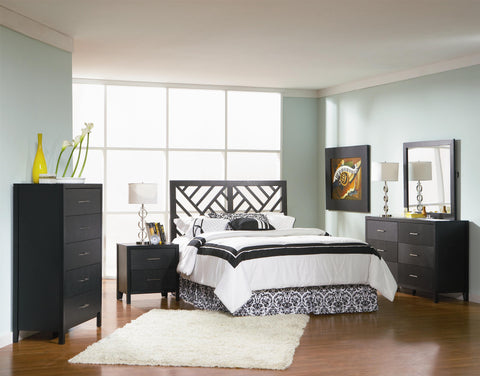 GROVE BLACK 4 PC QUEEN FULL HEADBOARD BEDROOM SET 300370