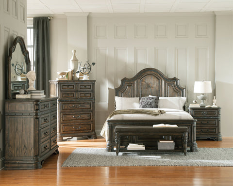 Carlsbad Vintage Espresso 4 PC Queen Panel Bedroom Set 204041