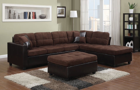 COASTER 505655 MALLORY CHOCOLATE REVERSIBLE SECTIONAL SOFA