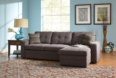 GUS DARK GREY SECTIONAL SOFA W/ PULL OUT BED & STORAGE 501677