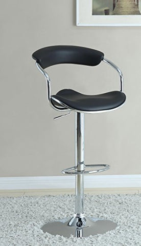 BLACK SEAT CHROME BASE ADJUSTABLE BAR STOOL SET OF 2 120386