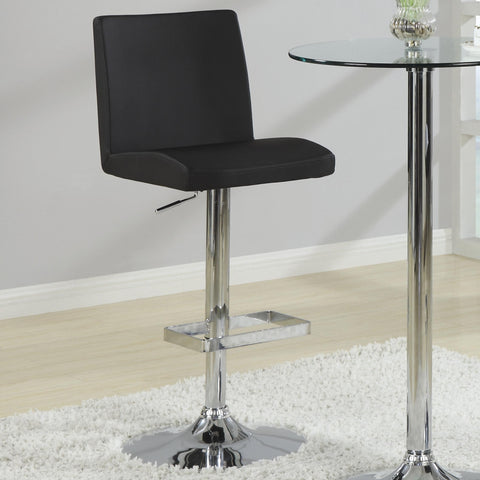 ADJUSTABLE BLACK SEAT CHROME BASE BAR STOOL SET OF 2