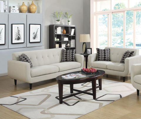 STANSALL 2 PCS IVORY LINEN SOFA COUCH AND LOVESEAT