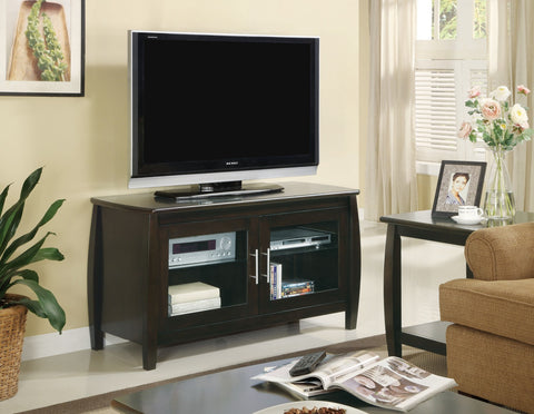 CAPPUCCINO MEDIA TV CONSOLE WITH GLASS DOORS