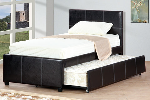 F9214T Espresso Platform Twin Bed with Trundle