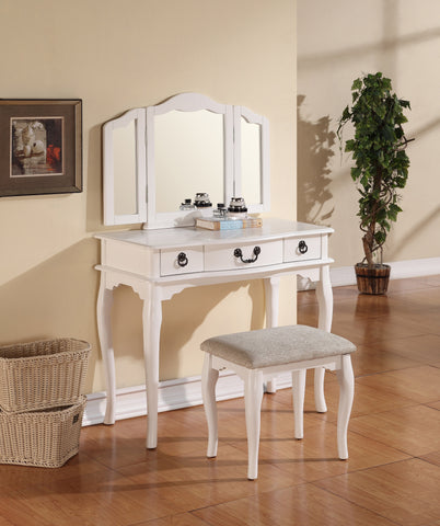 F4094 White Vanity Set Stool Mirror