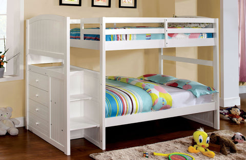 APPENZELL CM-BK922T WHITE TWIN BUNK BED W/ SIDE DRAWERS