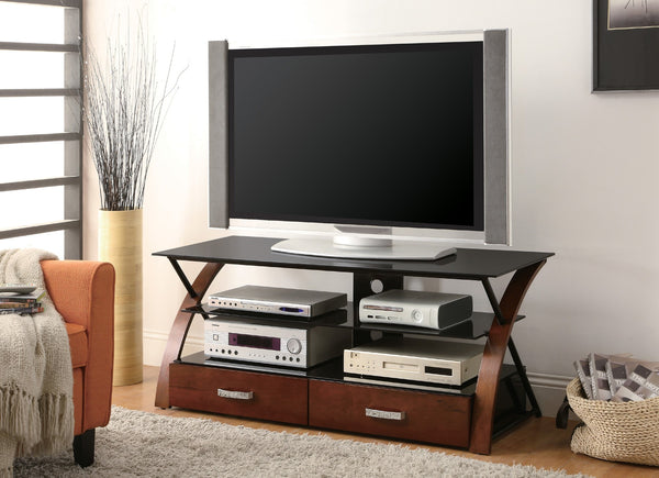 BLACK MEDIA TV CONSOLE WITH BLACK GLASS 700770