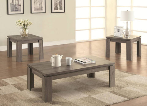 COASTER 701686 3 PC WEATHERED COFFEE TABLE SET