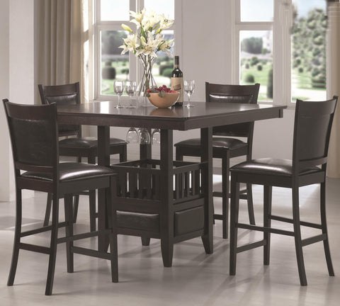 5 PC ESPRESSO COUNTER HEIGHT TABLE STOOL SET 100958