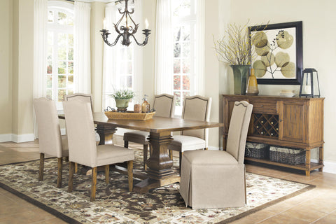 PARKINS 7 PIECES RUSTIC AMBER DINING TABLE SET