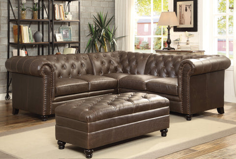 ROY BROWN BONDED LEATHER MATCH COUCH SOFA SECTIONAL SET