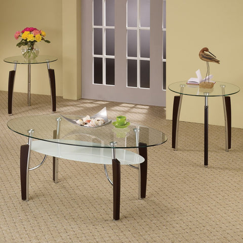 COASTER 701558 3PC GLASS TOP COFFEE TABLE SET