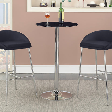 Chrome Black Tempered Glass Top Bar Table 121341