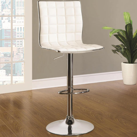 WHITE ADJUSTABLE BAR STOOL SET OF 2
