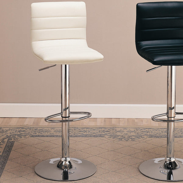 WHITE FAUX LEATHER CHROME ADJUSTABLE BAR STOOL SET OF 2 120345