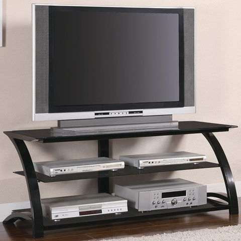 BLACK METAL AND GLASS MEDIA TV CONSOLE 700664