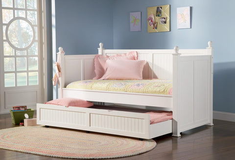 SEMI-GLOSS WHITE TWIN DAYBED WITH TRUNDLE 300026