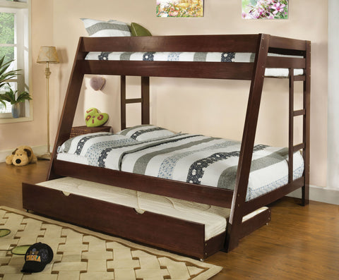 ARIZONA CM-BK358EXP DARK WALNUT TWIN OVER FULL BUNK BED WITH TRUNDLE