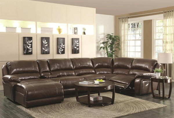 MACKENZIE MOTION BROWN SECTIONAL SOFA 600357
