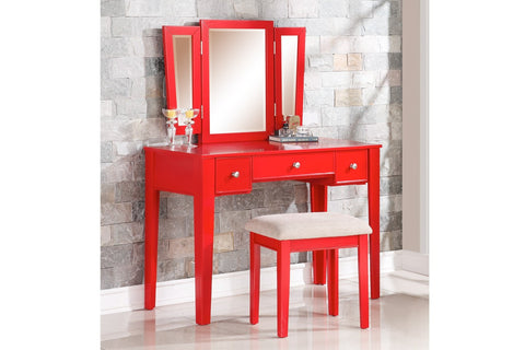 F4107 Red Vanity Set with Stool Mirror 3-Drawer
