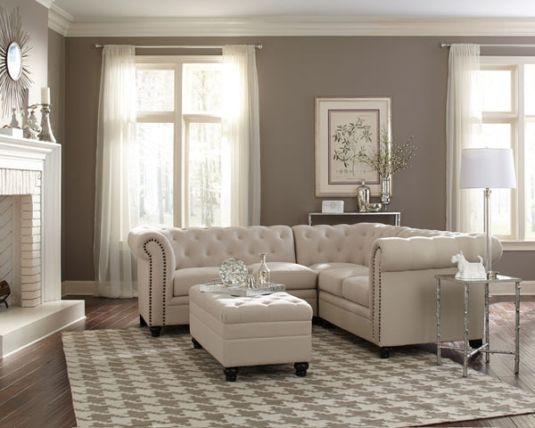 ROY OATMEAL LINEN BLEND COUCH SOFA SECTIONAL SET