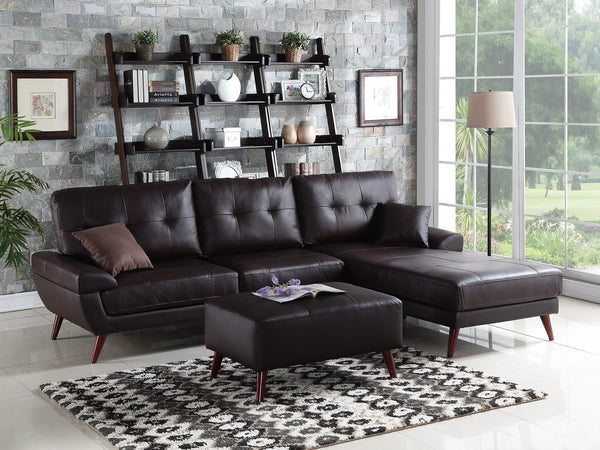 F6866 BROWN TOP GRAIN LEATHER SECTIONAL SOFA