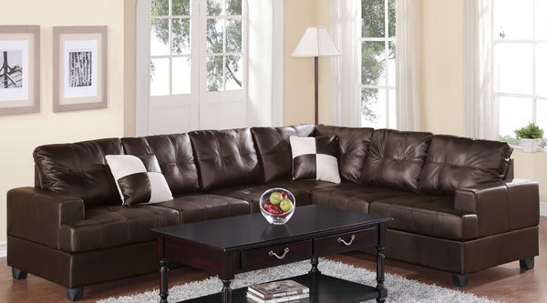F7629 ESPRESSO BONDED LEATHER SECTIONAL SOFA