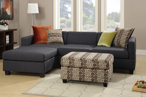 F7170 MICROFIBER REVERSIBLE CHAISE SECTIONAL SOFA