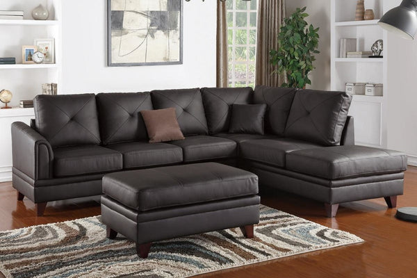 F6882 BROWN GENUINE LEATHER MATCH SECTIONAL SOFA