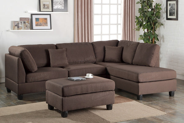 F7608 CHOCOLATE FABRIC REVERSIBLE CHAISE SECTIONAL SOFA SET