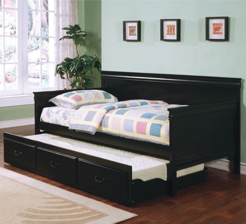 LOUIS PHILIPPE BLACK TWIN DAYBED WITH TRUNDLE 300036BLK