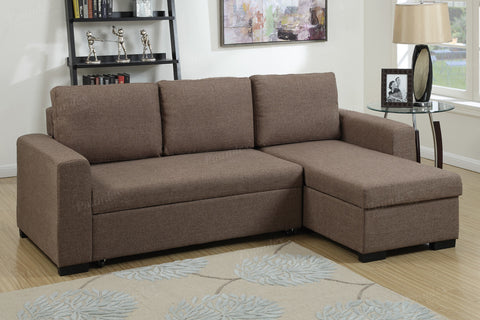 F6932 LIGHT COFFEE FABRIC STORAGE CHAISE SECTIONAL SOFA