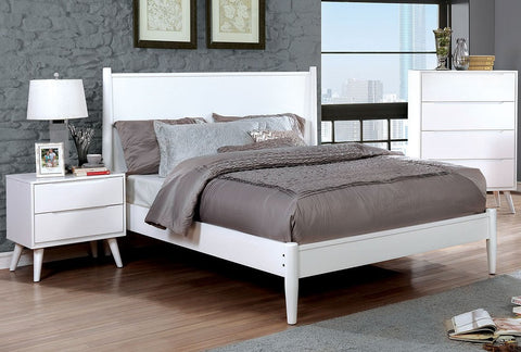 FURNITURE OF AMERICA CM7386WH LENNART II WHITE WOOD PLATFORM BED