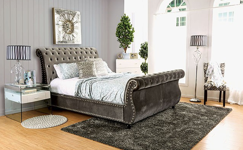 FURNITURE OF AMERICA CM7128GY NOELLA GRAY UPHOLSTERED PLATFORM BED