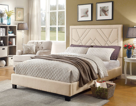 FURNITURE OF AMERICA CM7433BG MARIANNE FABRIC PLATFORM BED