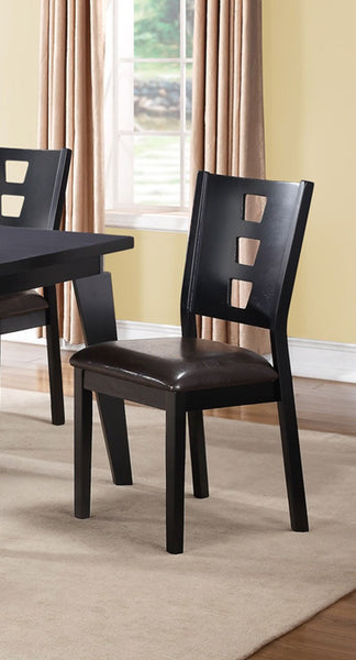 POUNDEX F1420 DARK BROWN WOOD DINING CHAIR SET OF 2