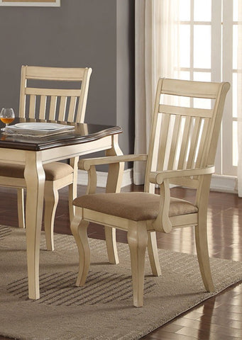 POUNDEX F1448 CREAM WOOD ARM CHAIRS SET OF 2