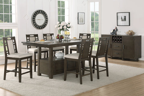 POUNDEX F2384 F1390 WOOD 7PC COUNTER HEIGHT DINING SET W/STORAGE