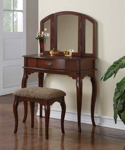 F4066 Cherry Vanity Set with Stool