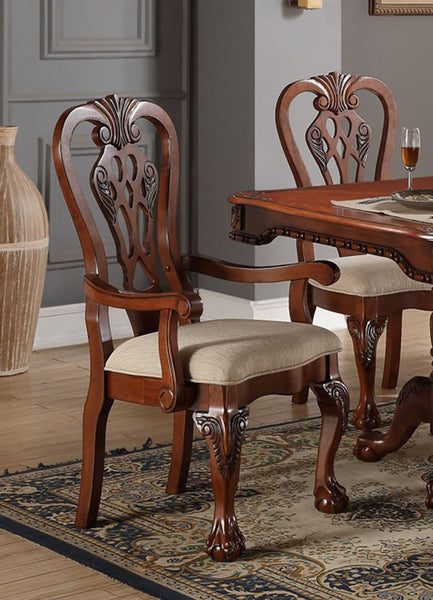 POUNDEX F1488 CHERRY WOOD ARM CHAIRS SET OF 2