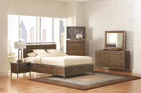 COASTER 203801 ARCADIA 4PC WEATHERED ACACIA BEDROOM SET
