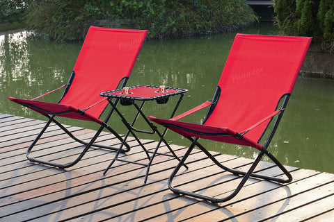 POUNDEX P50172 FOLD-ABLE OUTDOOR CHAIRS SET OF 2