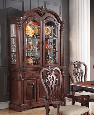 POUNDEX F6057 CHERRY WOOD CHINA CABINET BUFFET HUTCH