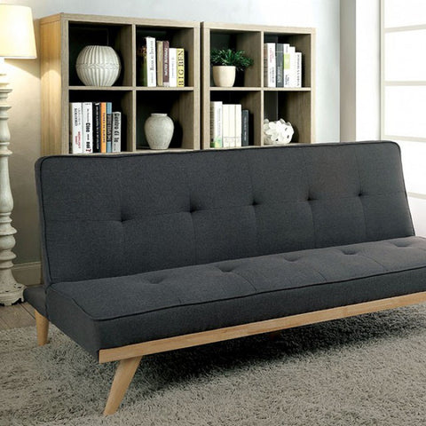 FURNITURE OF AMERICA CM2441GY LYRA FUTON SOFA